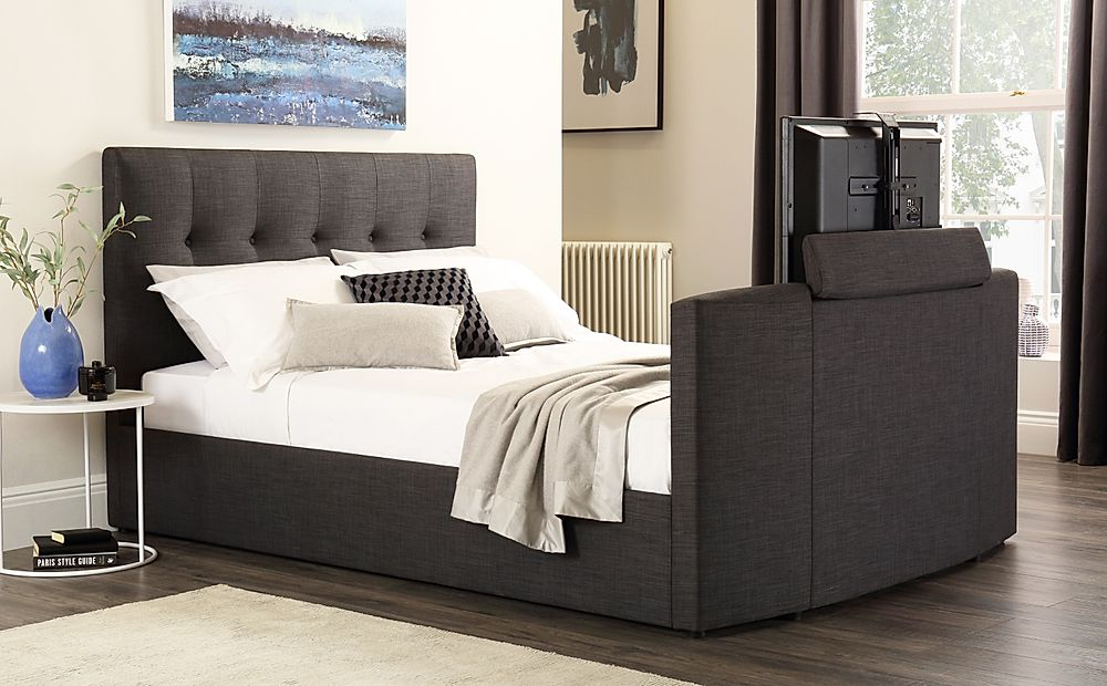 Langham Slate Grey Fabric TV Bed King Size