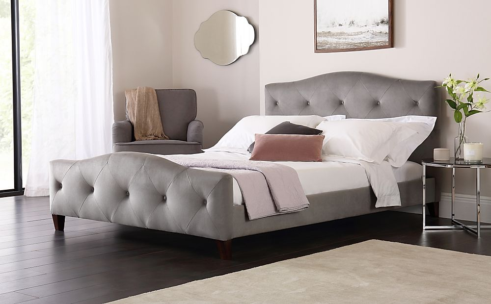 Sandringham Grey Velvet Bed King Size