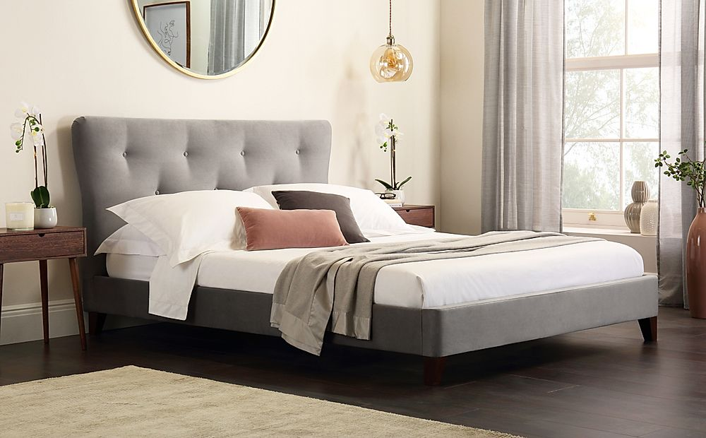 Pemberton Grey Velvet Bed King Size
