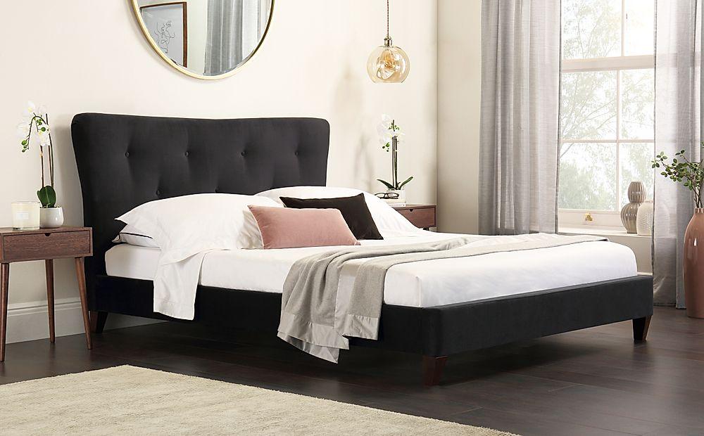 Pemberton Black Velvet Bed Double