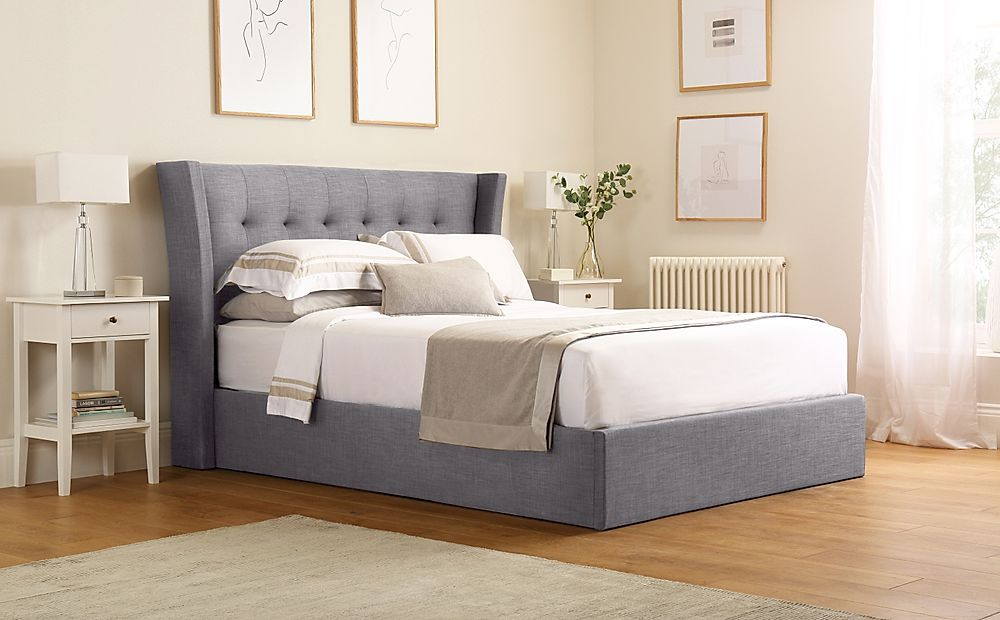 Kenley Grey Fabric Ottoman King Size Bed