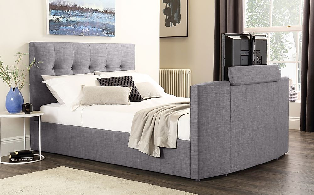 Langham Grey Fabric TV Double Bed