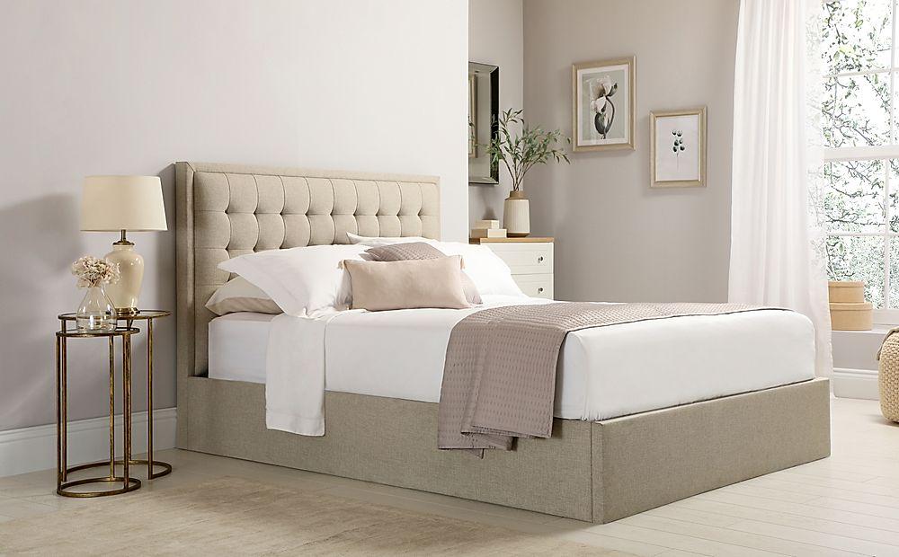Lexington Oatmeal Fabric Ottoman King Size Bed