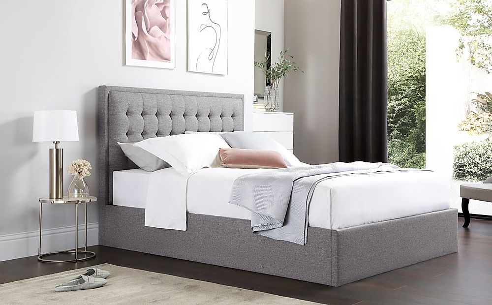 Lexington Grey Fabric Ottoman King Size Bed