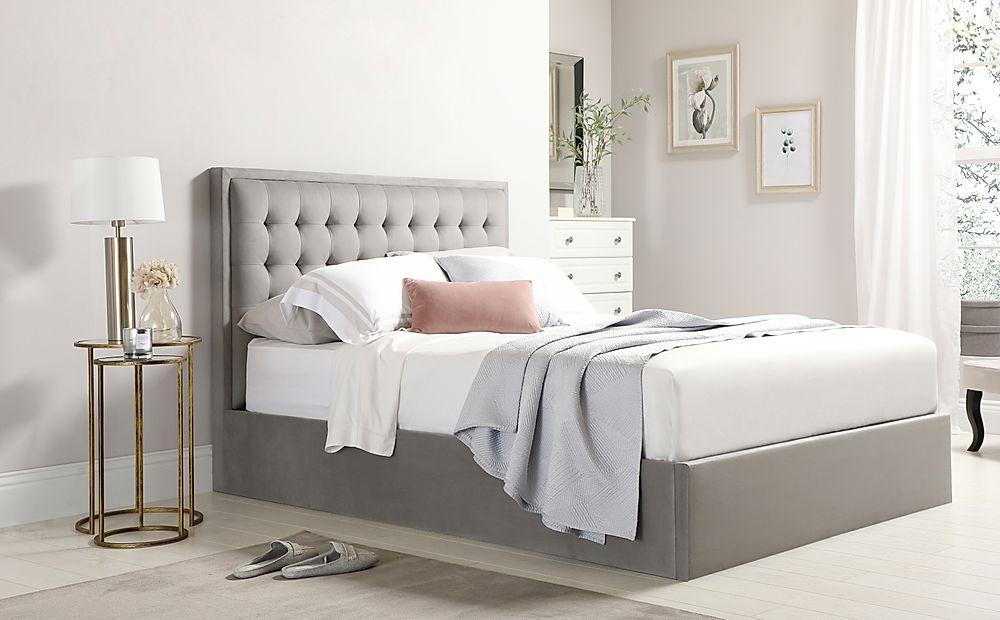 Lexington Grey Velvet Ottoman Double Bed