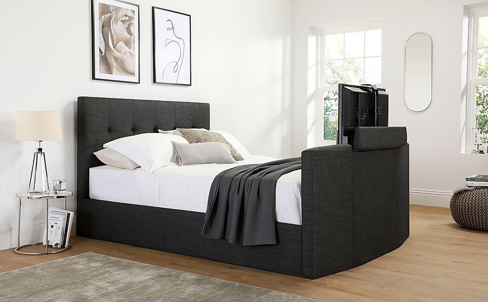 Langham Slate Grey Fabric Ottoman Double TV Bed