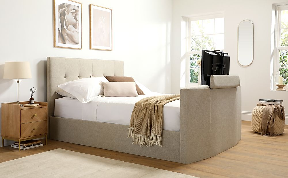 Langham Oatmeal Fabric Ottoman King Size TV Bed