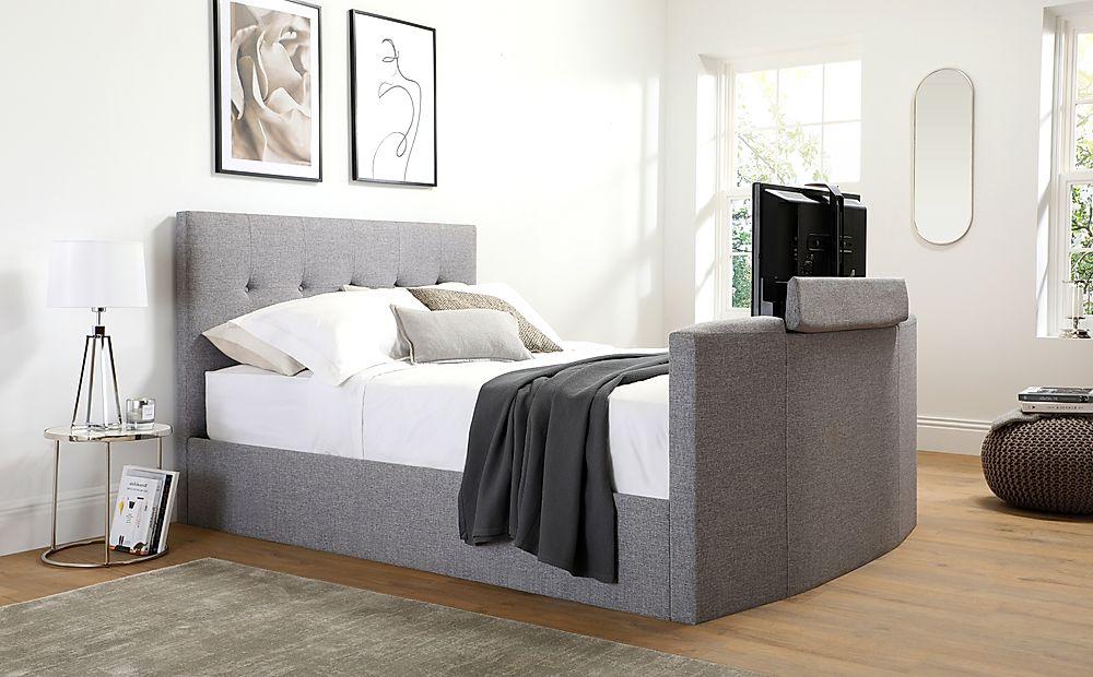 Langham Grey Fabric Ottoman Double TV Bed