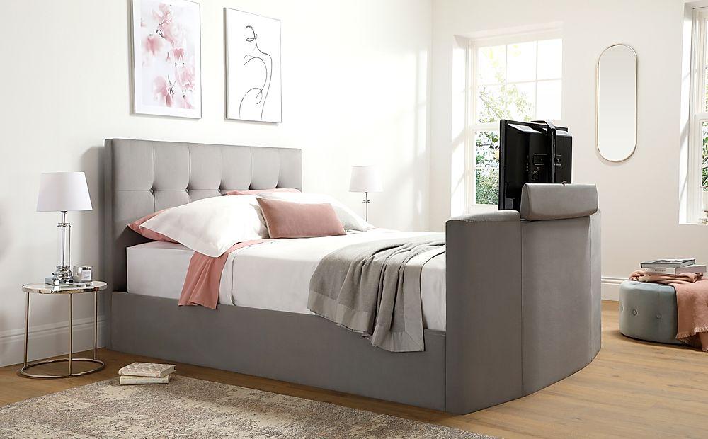 Langham Grey Velvet Ottoman Double TV Bed