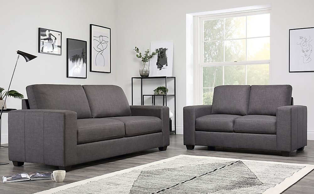 Mission Fabric Sofa Suite 3+2 Seater - Slate Grey