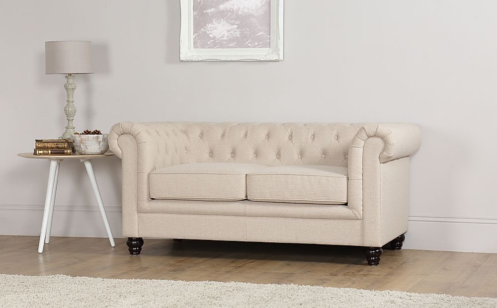Hampton 2 Seater Fabric Chesterfield Sofa (Oatmeal)