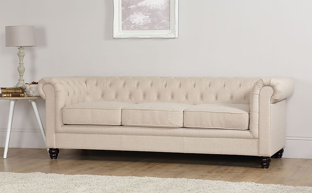 Hampton Oatmeal Fabric 3 Seater Chesterfield Sofa