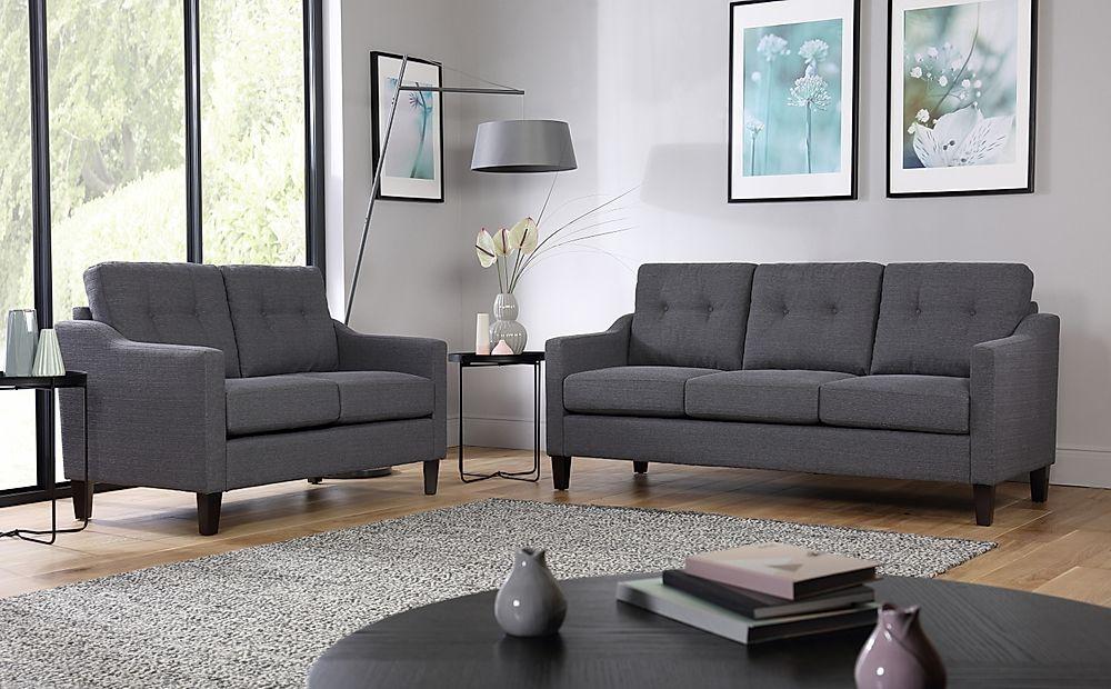 Hepburn Slate Fabric Sofa 3+2 Seater