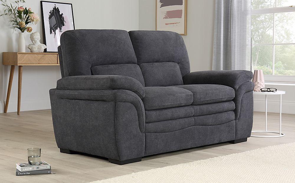 Sutton Slate Grey Plush Fabric 2 Seater Sofa