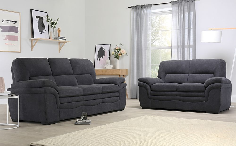 Sutton Slate Grey Plush Fabric Sofa 3+2 Seater