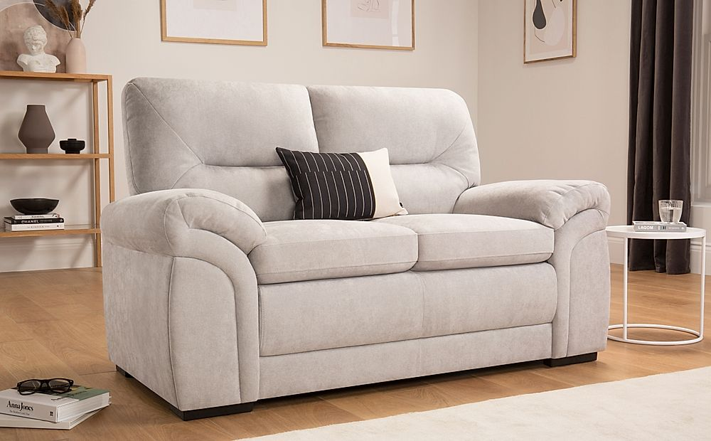 Bromley Dove Grey Plush Fabric Sofa 2 Seater