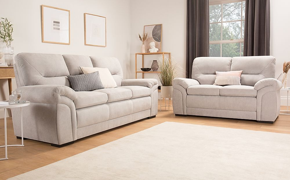 Bromley Dove Grey Plush Fabric Sofa 3+2 Seater