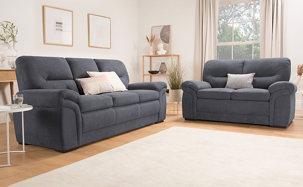 Bromley Slate Grey Plush Fabric Sofa 3+2 Seater