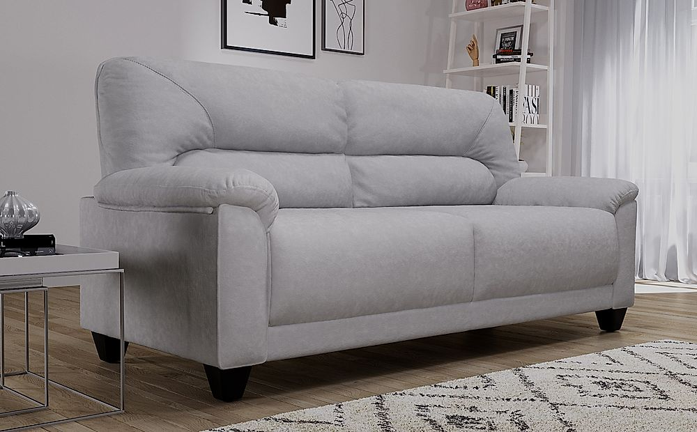 Austin Small Dove Grey Plush Fabric Sofa 3 Seater