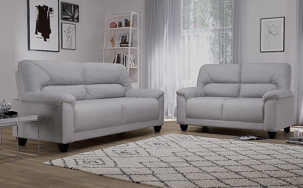 Austin Small Dove Grey Plush Fabric Sofa 3+2 Seater