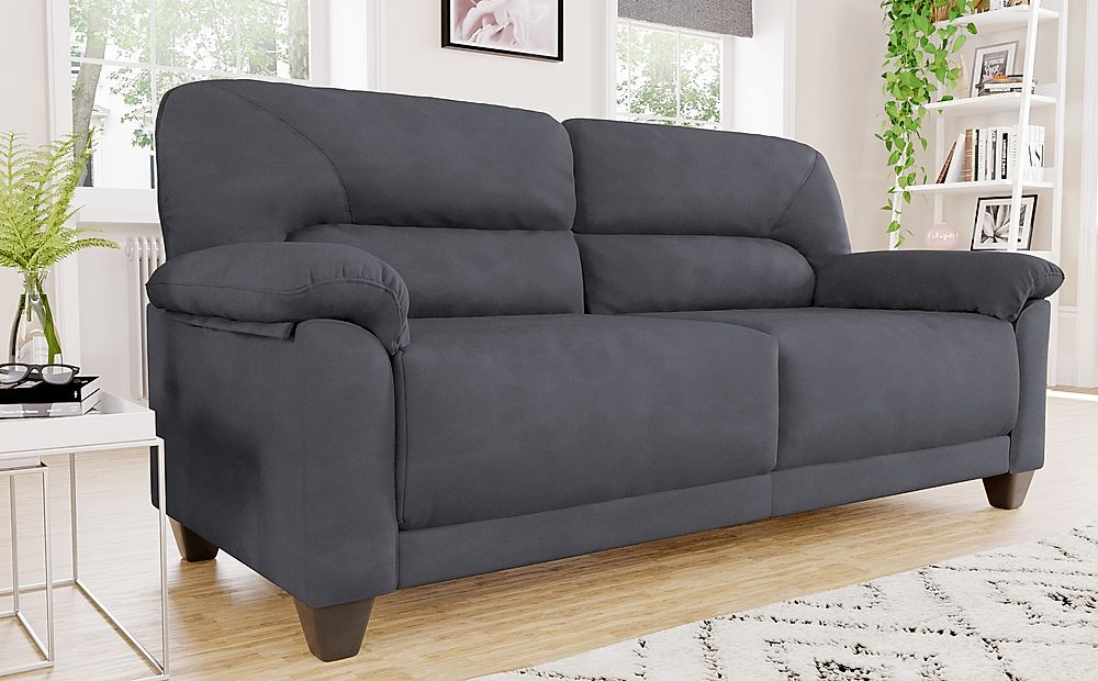 Austin Small Slate Grey Plush Fabric Sofa 3 Seater
