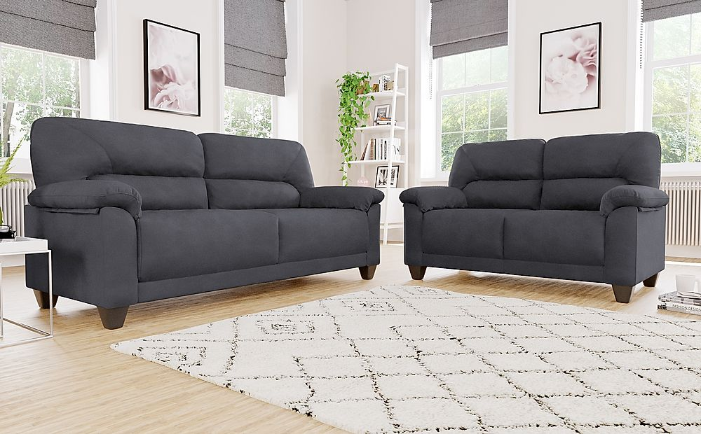 Austin Small Slate Grey Plush Fabric Sofa 3+2 Seater