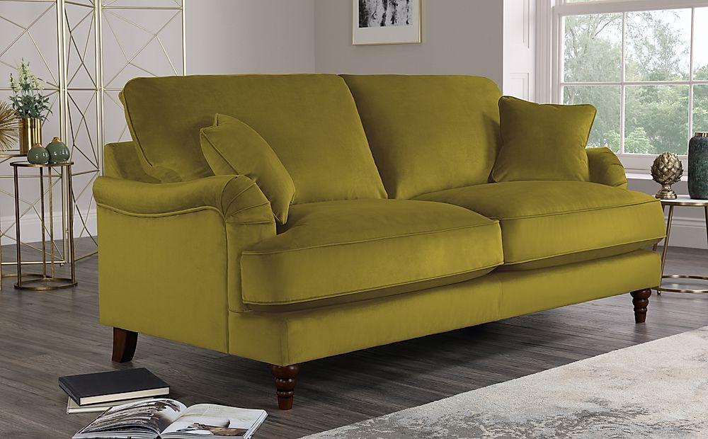 Charleston Olive Green Velvet Sofa 3 Seater