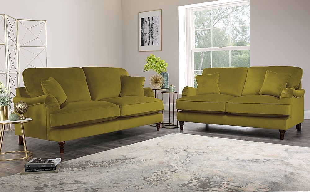 Charleston Olive Green Velvet Sofa 3+2 Seater Only £1299.98