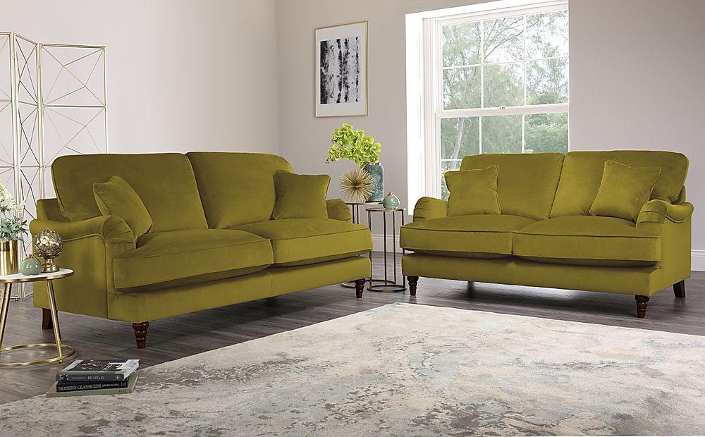 Charleston Olive Green Velvet 3+2 Seater Sofa Set