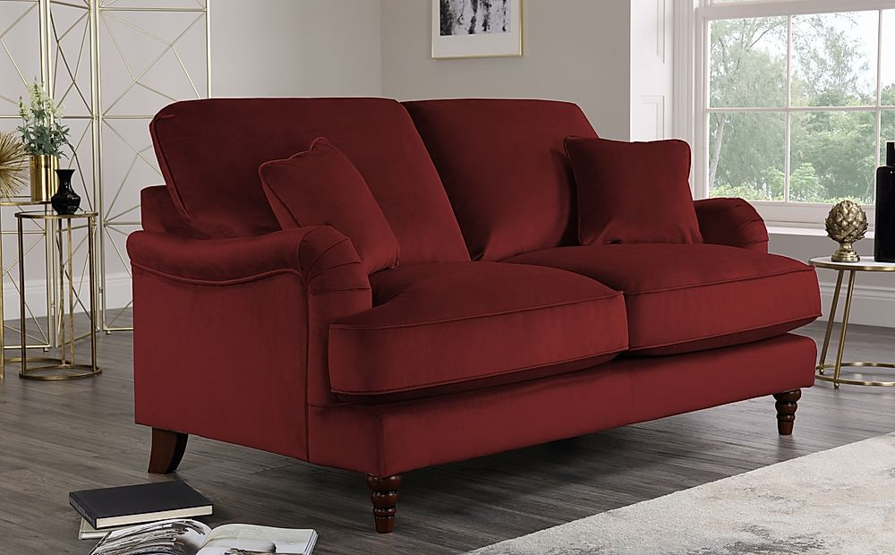 Charleston Burgundy Velvet Sofa 2 Seater