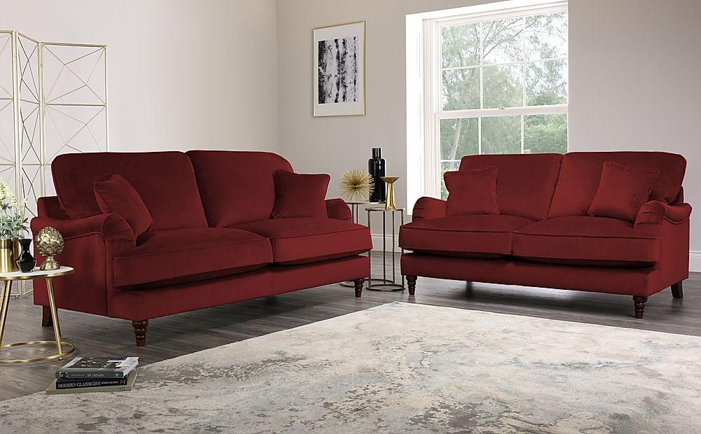 Charleston Burgundy Velvet 3+2 Seater Sofa Set