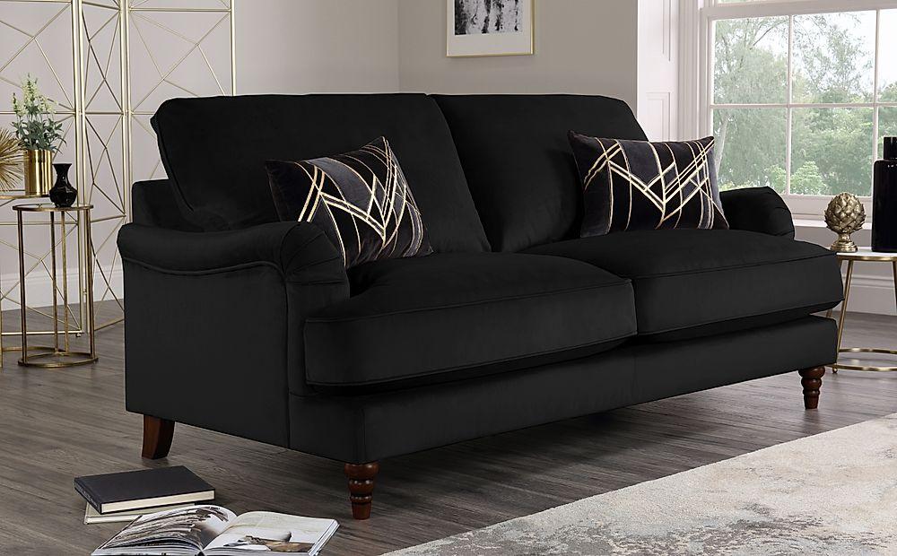 Charleston Black Velvet Sofa 3 Seater