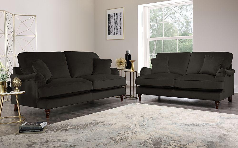 Charleston Charcoal Velvet Sofa 3+2 Seater
