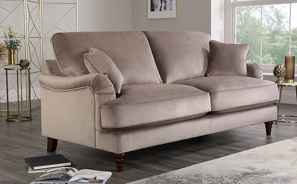 Charleston Mink Velvet Sofa 3 Seater