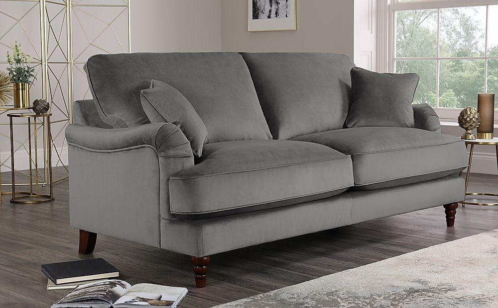 Charleston Grey Velvet Sofa 3 Seater