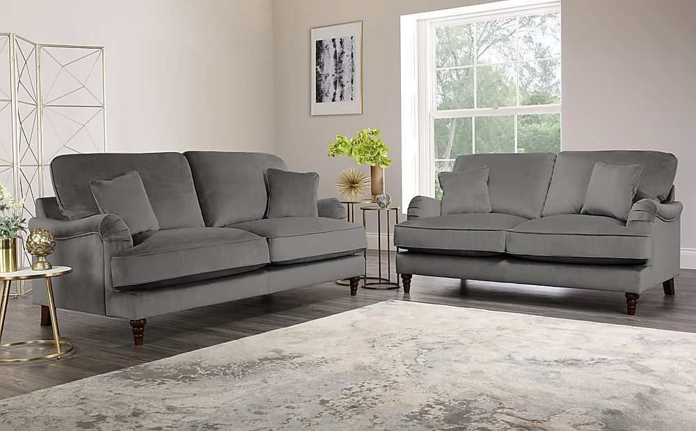 Charleston Grey Velvet 3+2 Seater Sofa Set