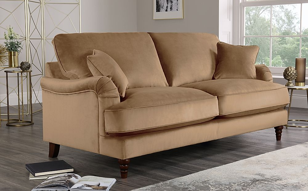 Charleston Oatmeal Velvet Sofa 3 Seater
