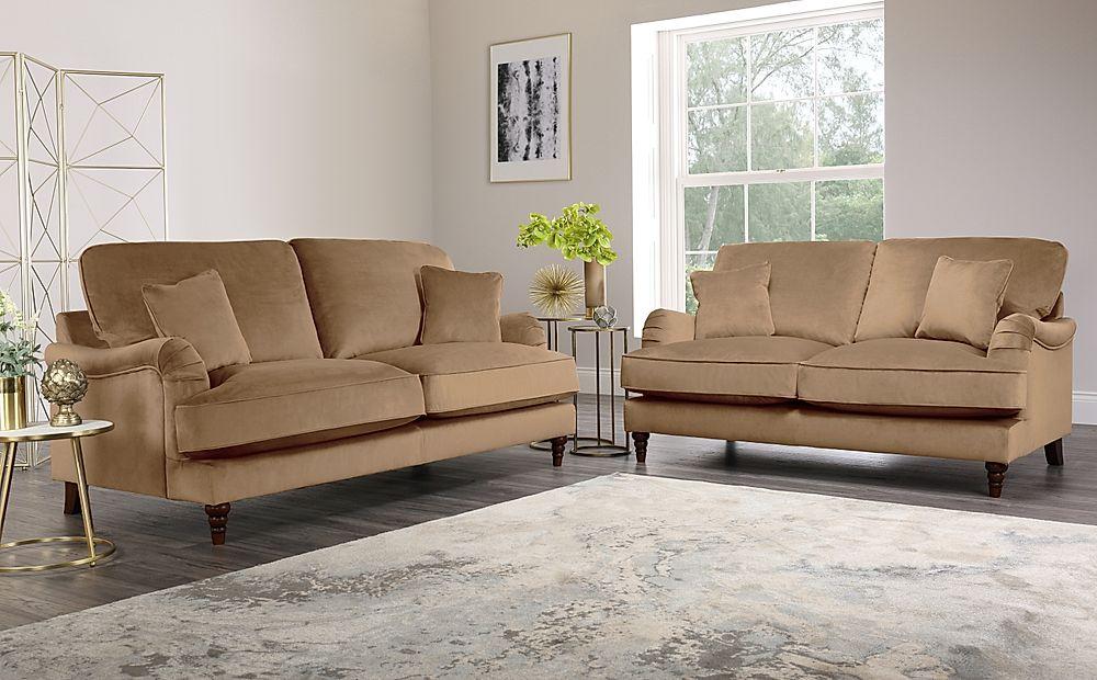 Charleston Oatmeal Velvet Sofa 3+2 Seater
