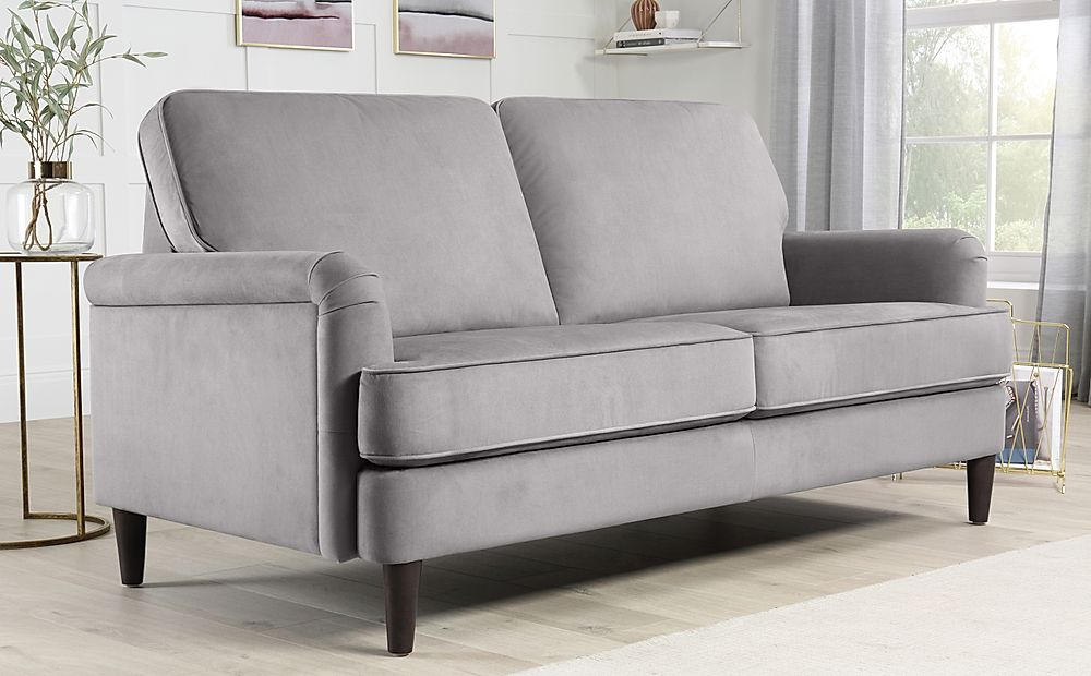 Pembroke Grey Velvet 3 Seater Sofa