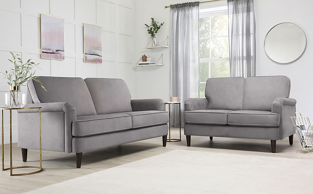 Pembroke Grey Velvet Sofa 3+2 Seater