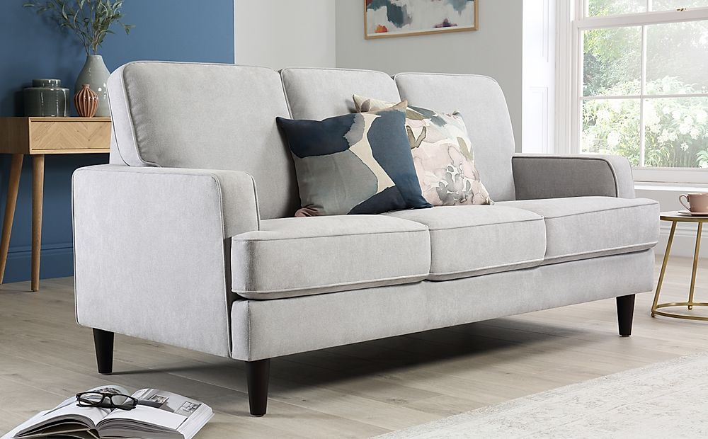 Albion Dove Grey Plush Fabric Sofa 3 Seater