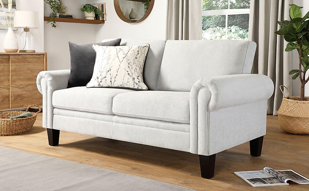 Oakley Dove Grey Plush Fabric 2 Seater Sofa