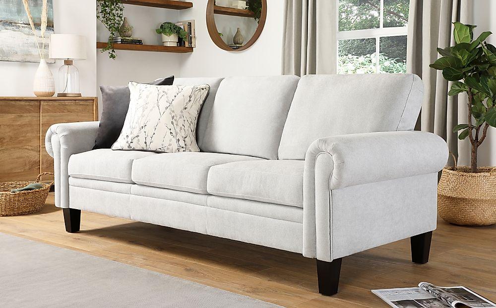 Oakley Dove Grey Plush Fabric 3 Seater Sofa