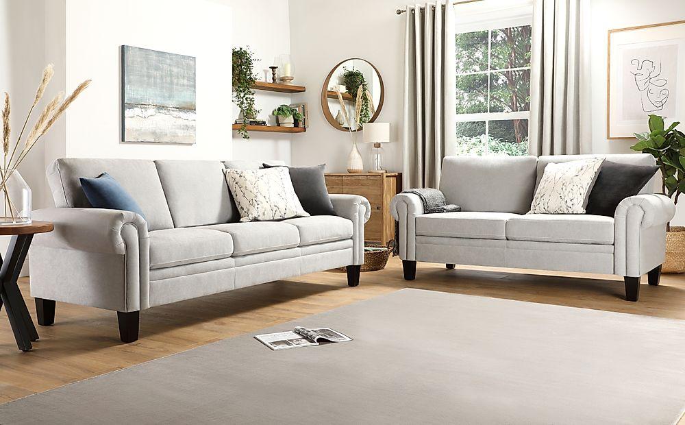 Oakley Dove Grey Plush Fabric 3+2 Seater Sofa Set
