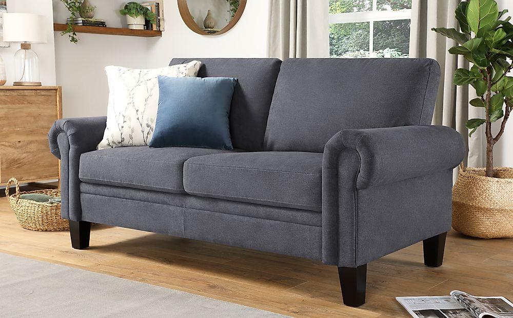 Oakley Slate Grey Plush Fabric 2 Seater Sofa