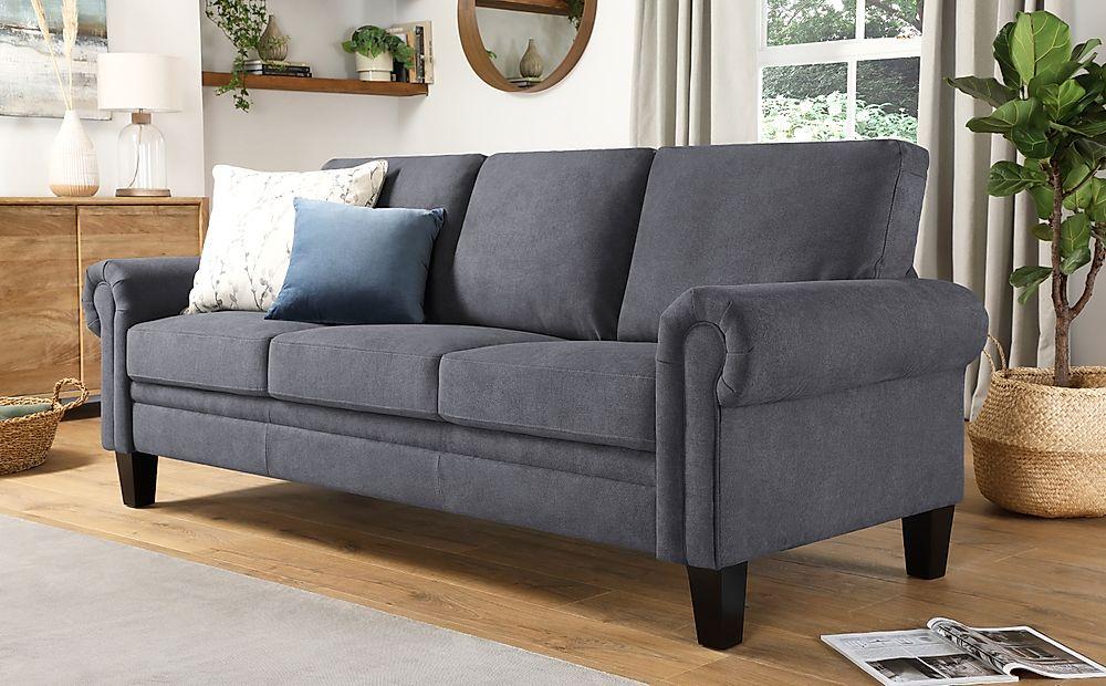 Oakley Slate Grey Plush Fabric 3 Seater Sofa