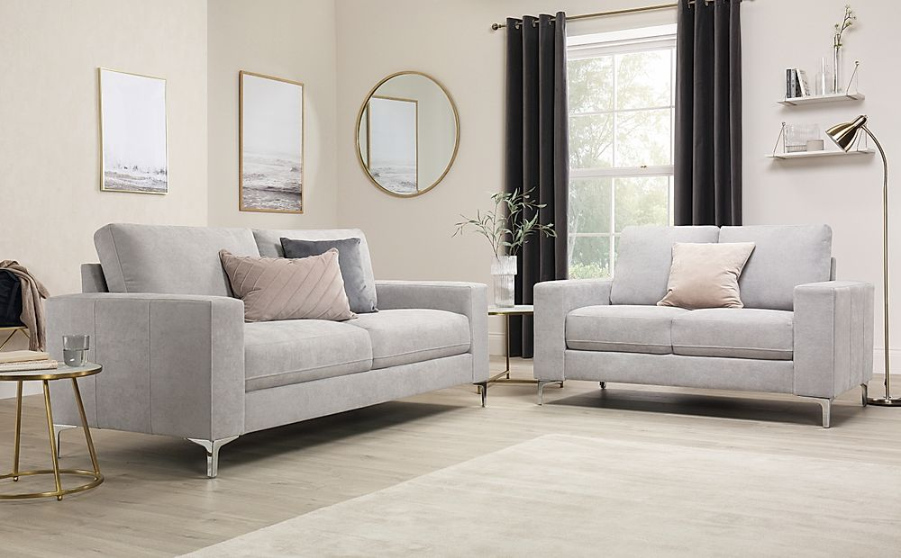 Baltimore Dove Grey Plush Fabric Sofa 3+2 Seater