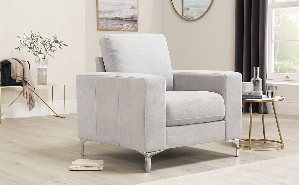Baltimore Dove Grey Plush Fabric Armchair