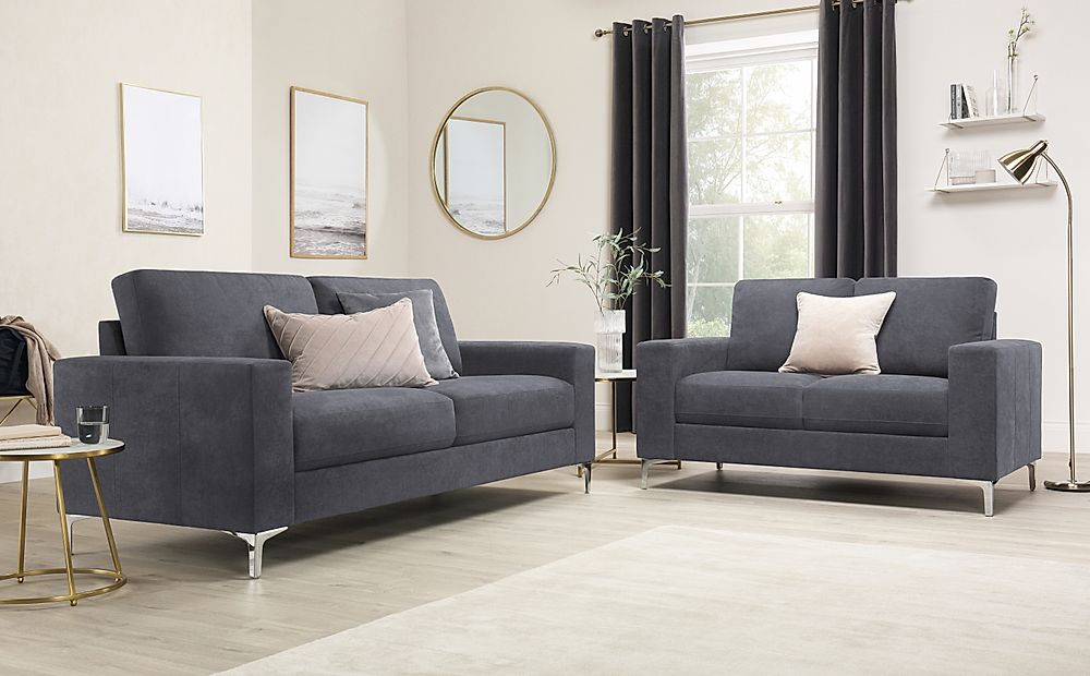 Baltimore Slate Grey Plush Fabric 3+2 Seater Sofa Set
