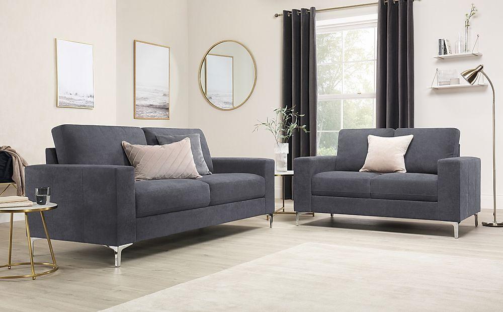 Baltimore Slate Grey Plush Fabric Sofa 3+2 Seater